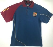 FCB Official Futbol Club Barcelona Men's Short Sleeve Blue Polo Shirt Size Large