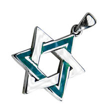 Silver 925 Jewish Magen David Classic Eilat Stone Pendant , Israel Star Of David