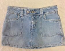 Bongo Womens Jeans Skirt Size 1 Light Blue Denim Mini Juniors Casual Distressed