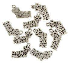 10pcs DOG PERSON & PAW PRINT Beads Tibetan Silver Charms Pendant DIY 13*17mm