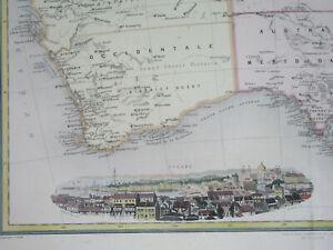 1890 ORIGINAL MAP AUSTRALIA NEW SOUTH WALES TASMANIA SYDNEY BRISBANE MELBOURNE