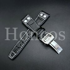 22MM Black Alligator Leather Strap Band Deployment Buckle Clasp Fits For IWC