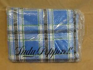 New Vintage Lady Pepperell Cal California King Fitted Sheet Blue & Green Plaid