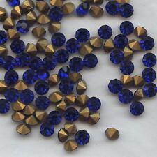 451161 *** 12 gros strass anciens fond conique 5,2mm BLEU COBALT
