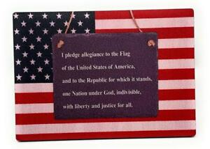 American FLAG w/PLEDGE of ALLEGIANCE Patriotic 5 x7 Wood Sign for Wall or Shelf