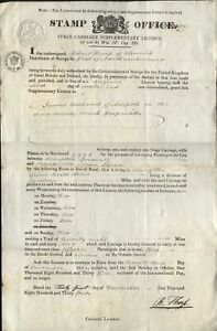 1834 RARE 1/- STAGE CARRIAGE LICENCE - STAMP OFFICE to J Clelland of MORPETH