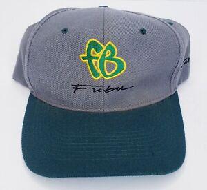 "Vintage 90's ""boot"" Fubu Snap Back Hat Grey Green Yellow Free USA Shipping"