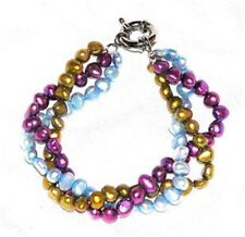 "Colorful Freshwater Multicolor Pearls Bracelet 8"" Long 3 Strand"