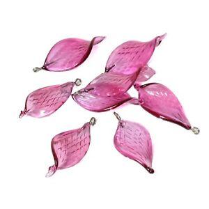 Lot (8) Czech lampwork pink amethyst glass leaf flower pendant beads