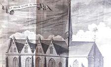 La grande Eglise de LEWARDE HARREWYN GRAVURE originale DELICES des PAYS BAS 1711