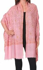 Pure Cashmere Pink Pashmina Embroidered: Royal Princess Spread Scarf or Wrap