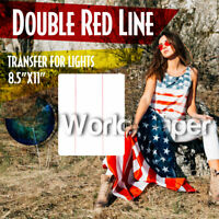 DOUBLE RED LINE light colors inkjet heat iron on HTP Sample  8.5x11 1Sh