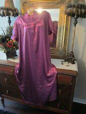 Vintage Ekouaer plum Shiny Satin Long Nightgown Lingerie size XXL pretty!