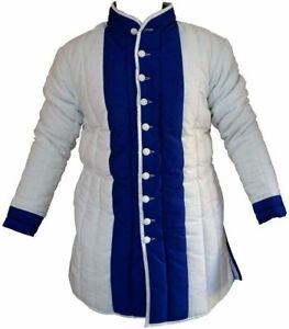 Medieval Cotton White Blue Color thick padded Gambeson