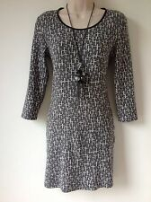 TOPSHOP SIZE 10 BLACK GREY WHITE CRUCIFIX CROSS BODYCON DRESS GOTH SMART CASUAL