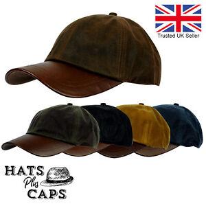 British Waxed Cotton Baseball Cap Leather Peak Water Repellent Rain Hat Fishing