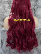 "24"" BURGUNDY FLIP IN SECRET CLEAR WIRE HAIR PIECE EXTENSIONS NO CLIP IN/ON"