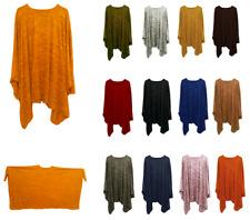 Winter Baggy Ladies Oversized Plain Flowy Batwing Kaftan Top Plus Size (14-36)