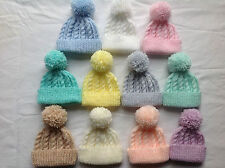 HAND KNIT PREMATURE AND BABY CABLE BEANIE BOBBLE HAT - acryllic baby yarns