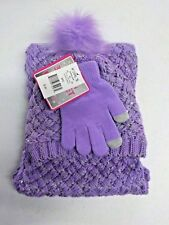 Girls One Size Accessories 22 Purple/Silver Scarf, Hat & Gloves Set Nwt #10743
