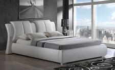 ARTUR QUEEN SIZE 8269-W MODERN STYLE  LEATHER WHITE PLATFORM BED