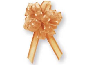 12 Sheer Gold Organza Satin edge pull out Holiday New Year Wedding Gift Bows