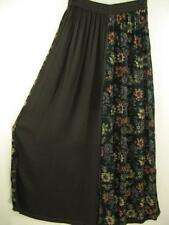 P424~TIENDA HO~Black &Brown~floral~Elegant~EMBROIDERED~PALAZZO Pants~BUTTONS~OS