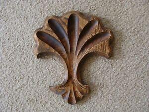 """Antique Vintage Oak Furniture  Crest Trim Carved Overlay 9 1/4"""" Has Chip"""