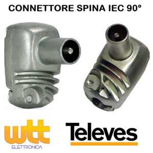 Connettore antenna TV spina maschio IEC 90° spinotto professionale TELEVES 41321