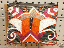 Clever Carriage Hand-Embroidered / Leather Tribal  Makeup Bag New With Tag RARE