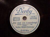 """STREICH-ORCHESTER """"Der Graf von Luxemburg - Potpourri - Lehár"""" Derby 20cm 78rpm"""