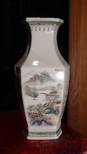 ANTIQUE CHINESE FAMILLE ROSE PORCELAIN OCTOGONAL HAND PAINTED VASE SIGN AND SEAL