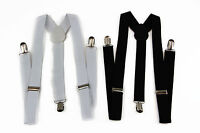 BLACK / WHITE UNISEX MENS WOMENS SUSPENDERS BRACES ADJUSTABLE FORMAL WEDDING