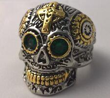 G-Filled 18ct gold Men's skull ring Cross Gent's gothic bikie bikers US 9.5 AU T