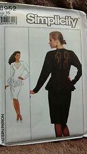 Butterick  Pattern 1988 uncut princess slim bottom ruffle dresses dress size 16