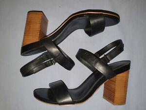 Size 9 ALDO Blocked High Heels Black Leather Sandals