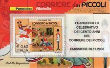 TESSERA FILATELICA 2008 - 100 ANNI DEL CORRIERE DEI PICCOLI - RARISSIMA RITIRATA
