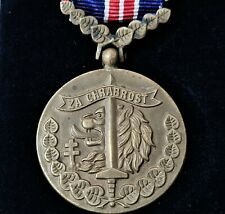 WW2 CZECHOSLOVAKIA BRAVERY MEDAL Medaila za Chrabrosť WITH RARE CASE ISSUE