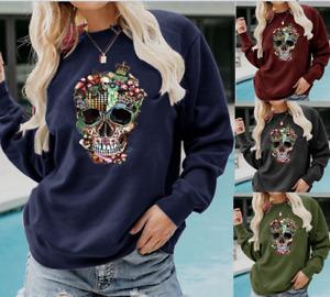 Women Gothic Skull Print Sweater Long Sleeve Top Ladies Blouse T-Shirt E7281