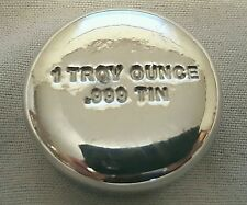 1 Troy Ounce .999 Fine Tin Bullion Round - Hand Poured & Stamped - Grimm Metals