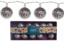 set of 10 vintage retro style KASBAH SILVER ball LED xmas christmas tree lights