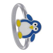 925 Sterling Silver Blue Enamel Penguin kids Animal Ring Size 3 - 5