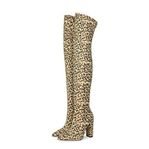 Sexy Thick Heel Pointed Toe Over The Knee High Heel Lady Stretch Thigh High Boot