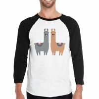 Llama Pattern Mens Baseball Shirt