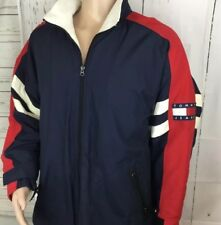 Vintage Tommy Hilfiger Jacket Color Block Coat Flag Fleece Nylon XL Lotus