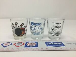 Vintage Lot of 3 WIBC Bowling Shot Glasses IA, ND Championship 1991, 1989