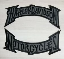 Harley Davidson Black and Grey Muted Rocker Patch Set Large Motorcycle Biker