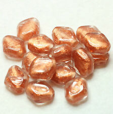 15 FANCY INDIAN FOILED DIAMOND SHAPE GLASS BEADS 12 x 10 mm COPPER (BBB 600)