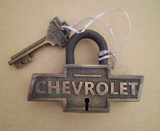 Brass Lock Chevrolet Bowtie Vintage Style W/ Keys Chevy Padlock