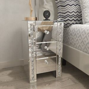 Mirrored Glass Bedside Table 3 Drawers Cabinet Bedroom Side Table Nightstand UK